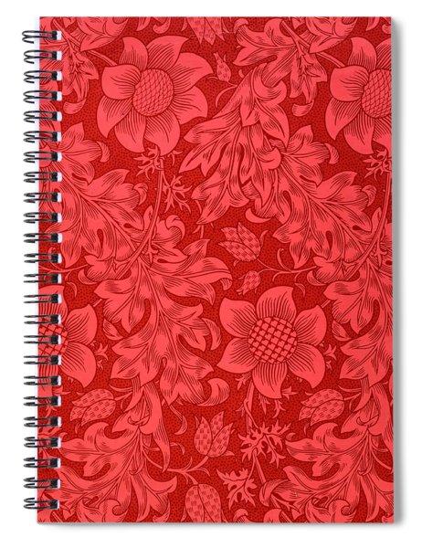Red Sunflower Wallpaper Design, 1879 Spiral Notebook