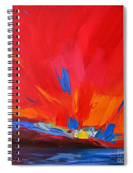 Red Sunset, Modern Abstract Art Spiral Notebook