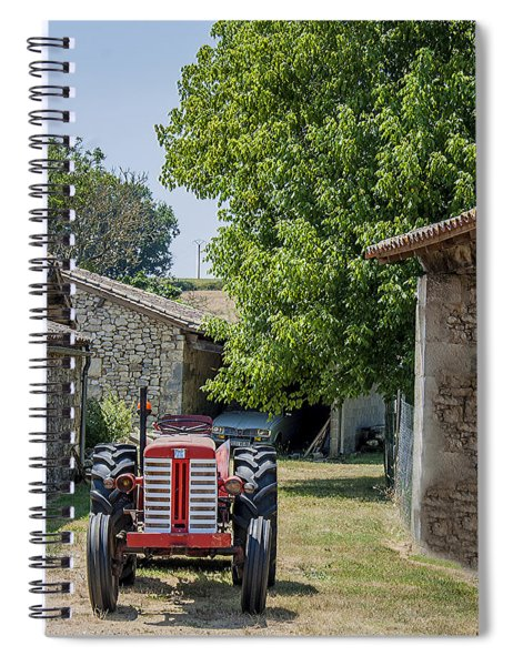 Red Tractor On A French Farm Spiral Notebook