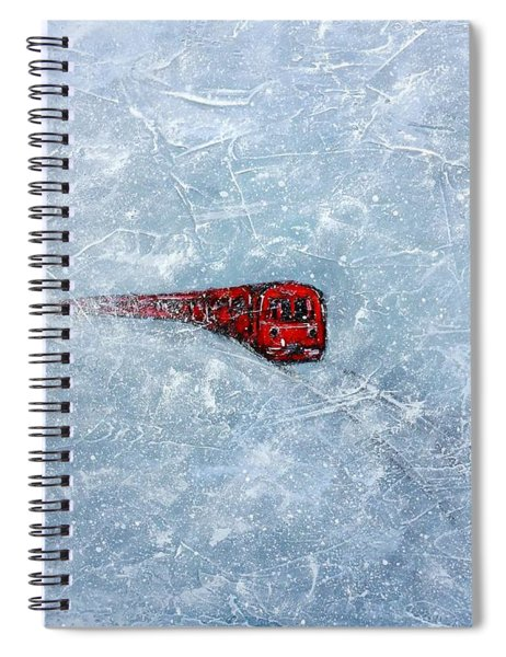 Red Train Braving The Winter Spiral Notebook