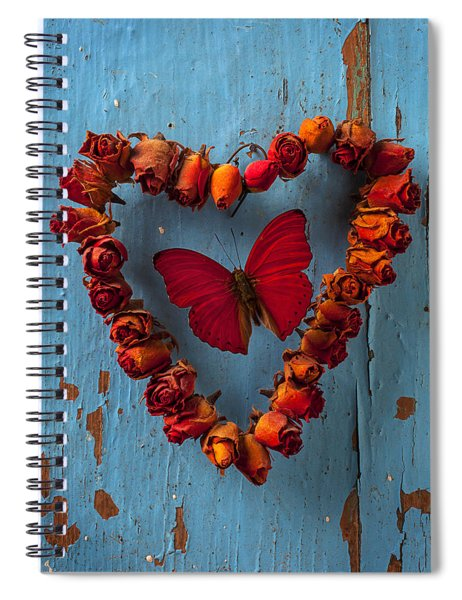Red Wing Butterfly In Heart Spiral Notebook