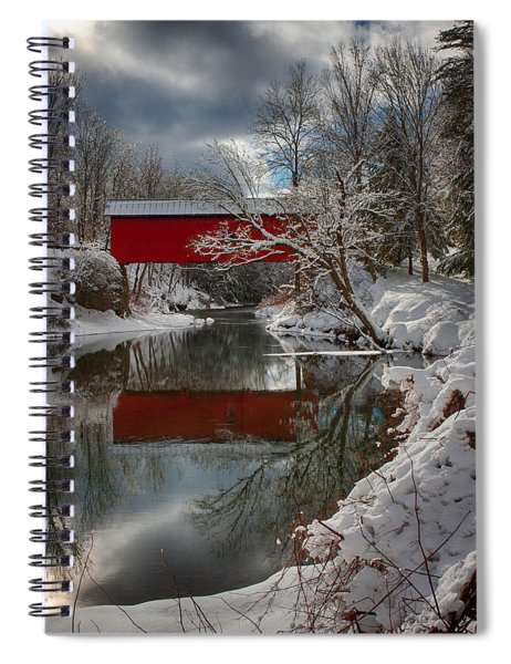 reflection of Slaughterhouse covered bridge Spiral Notebook