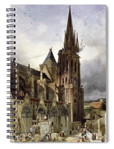 Restoring The Abbey Church Of St. Denis In 1833 Oil On Canvas Spiral Notebook
