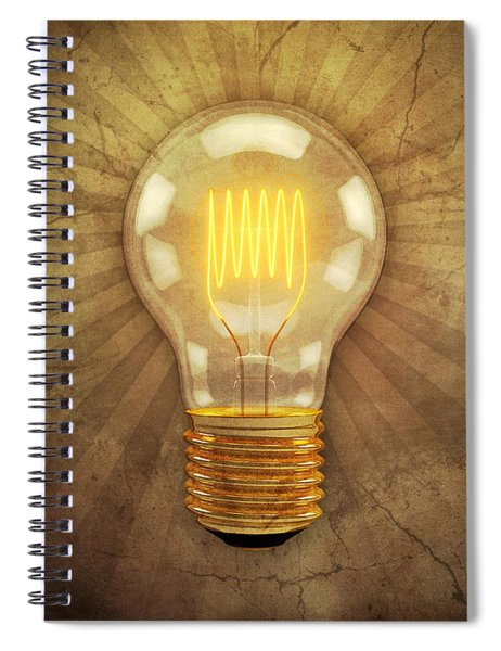 Retro Light Bulb Spiral Notebook