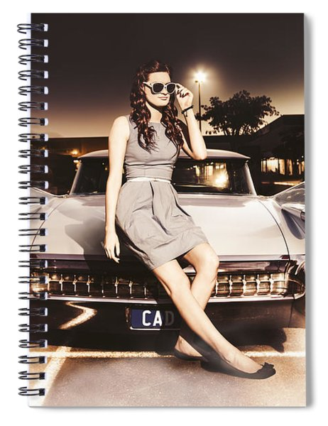 Retro Sixties Pinup Girl On Vintage Car Spiral Notebook