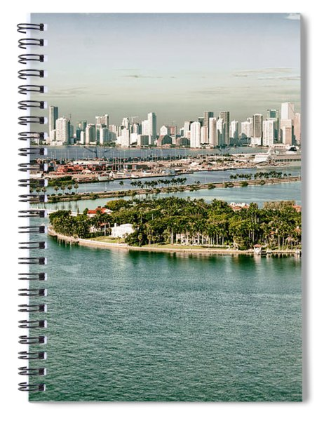 Retro Style Miami Skyline And Biscayne Bay Spiral Notebook