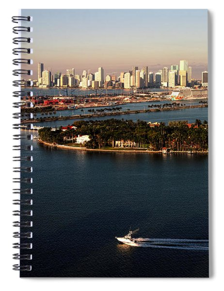Retro Style Miami Skyline Sunrise And Biscayne Bay Spiral Notebook