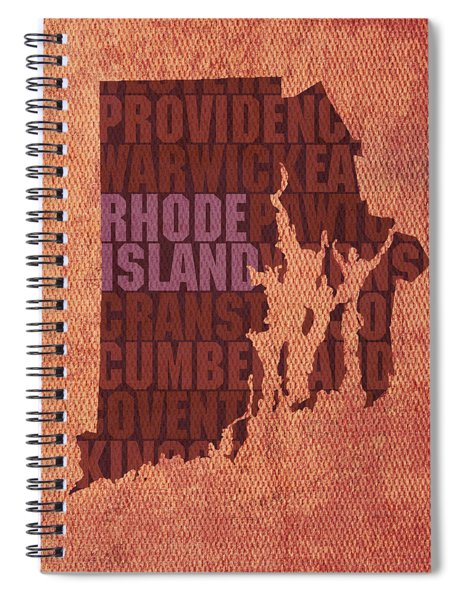 Rhode Island Word Art State Map On Canvas Spiral Notebook by Design Turnpike