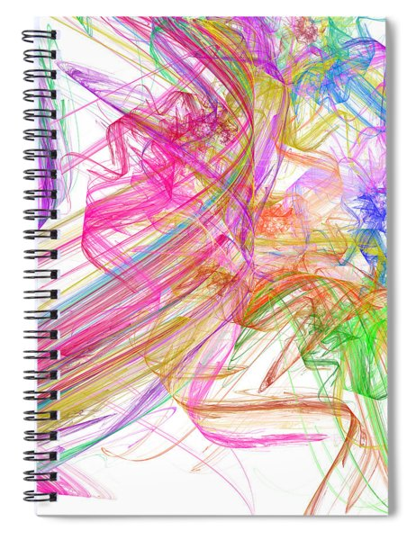 Ribbons And Curls White - Abstract - Fractal Spiral Notebook