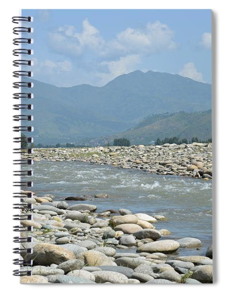 Riverbank Water Rocks Mountains And A Horseman Swat Valley Pakistan Spiral Notebook