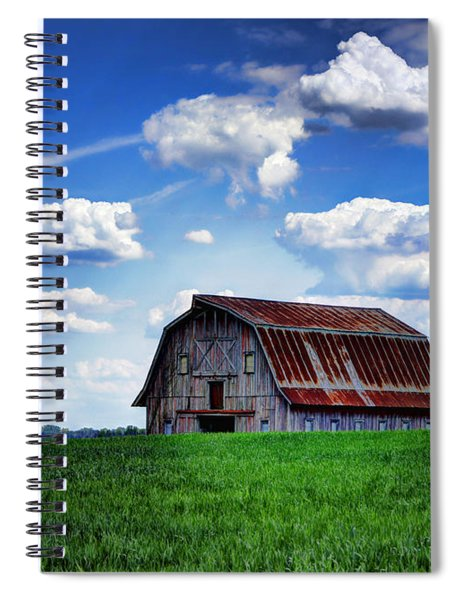 Riverbottom Barn Against The Sky Spiral Notebook