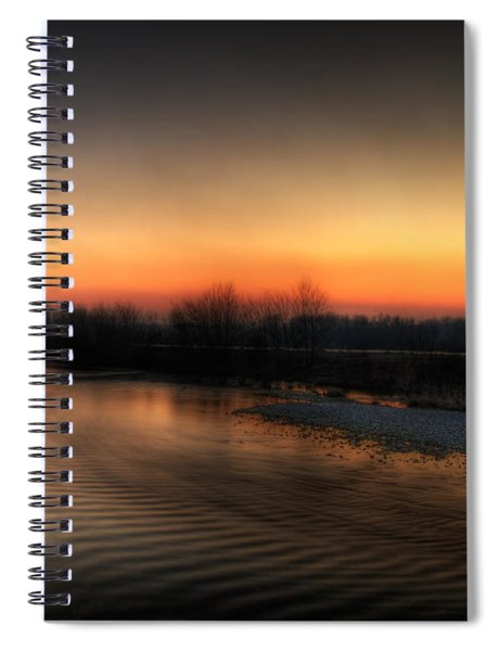 Riverscape At Sunset Spiral Notebook
