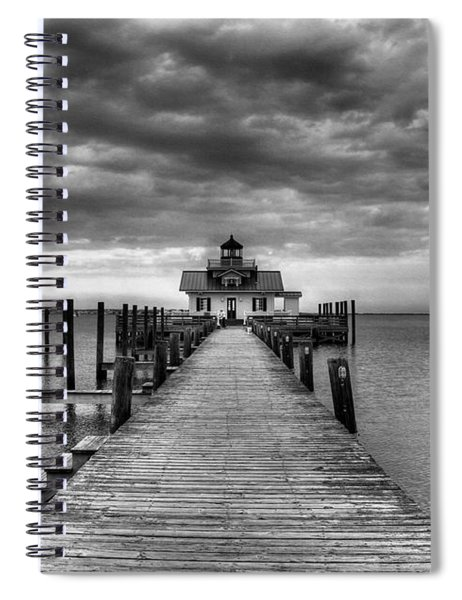 Spiral Notebook featuring the photograph Roanoke Marshes Light 2 Bw by Mel Steinhauer