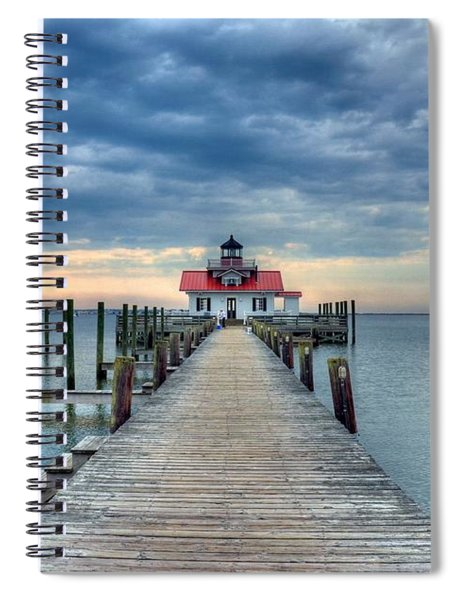 Spiral Notebook featuring the photograph Roanoke Marshes Light 2 by Mel Steinhauer