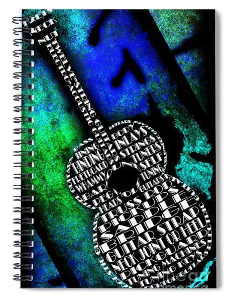 Rockin Guitar In Blue And Green Spiral Notebook