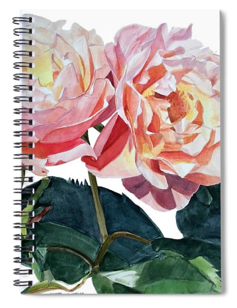 Pink And Yellow Rose Anne Spiral Notebook