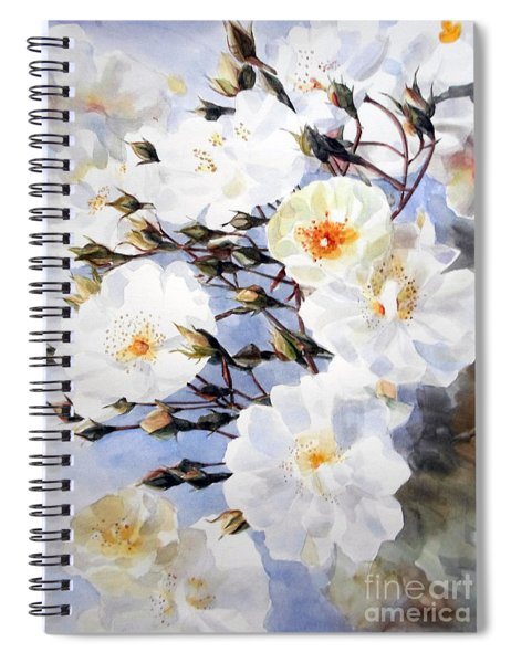 Wartercolor Of White Roses On A Branch I Call Rose Tchaikovsky Spiral Notebook