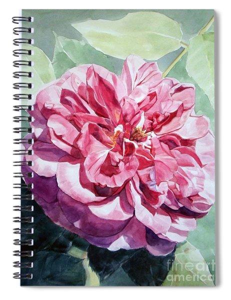 Watercolor Of A Pink Rose In Full Bloom Dedicated To Van Gogh Spiral Notebook