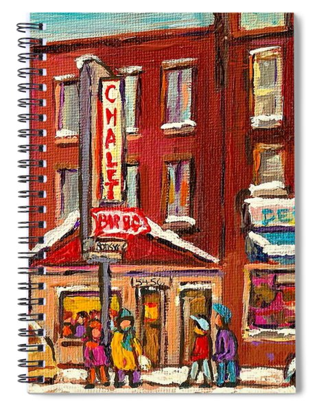 Rotisserie Le Chalet Bar B Q Sherbrooke West Montreal Winter City Scene Spiral Notebook