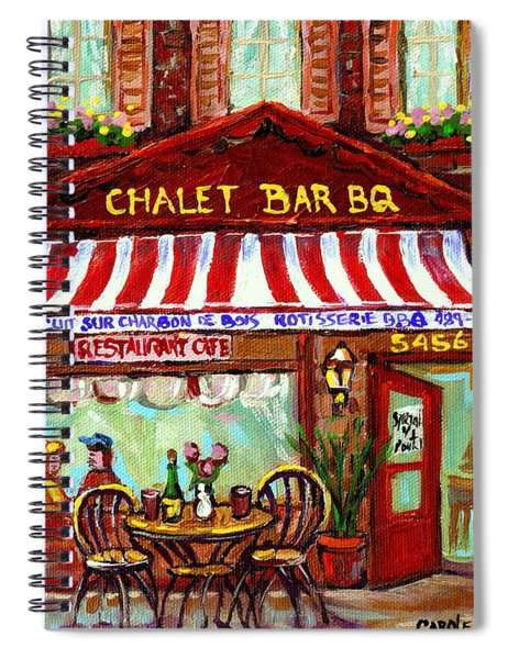 Rotisserie Le Chalet Bbq Restaurant Paintings Storefronts Street Scenes Diners Montreal Art Cspandau Spiral Notebook