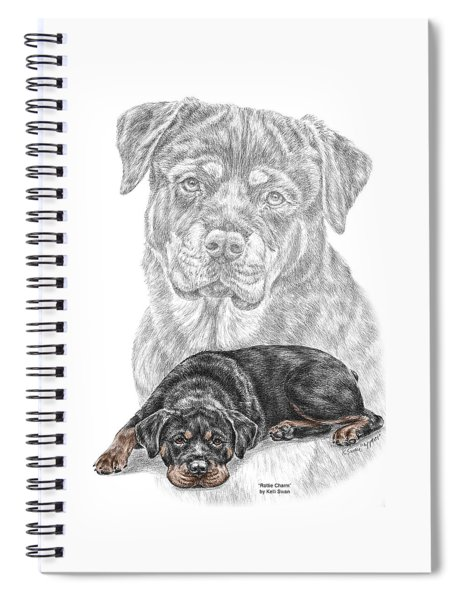 Rottie Charm - Rottweiler Dog Print With Color Spiral Notebook