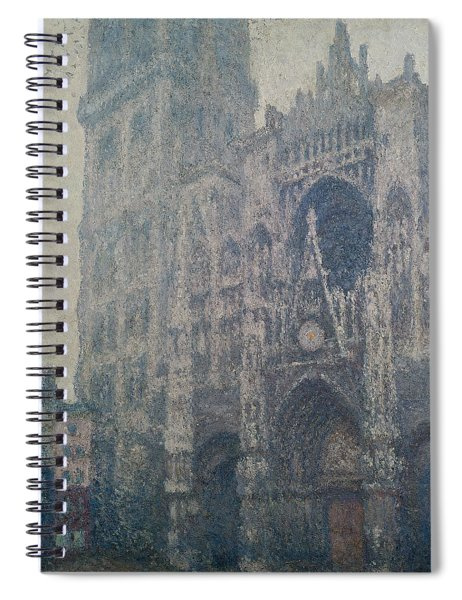 Rouen Cathedral West Portal Grey Weather Spiral Notebook
