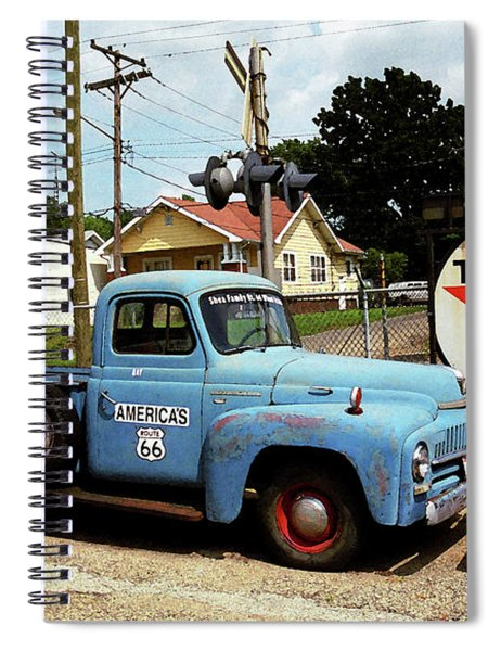 Route 66 - Gas Station With Watercolor Effect Spiral Notebook