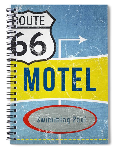Route 66 Motel Spiral Notebook by Linda Woods