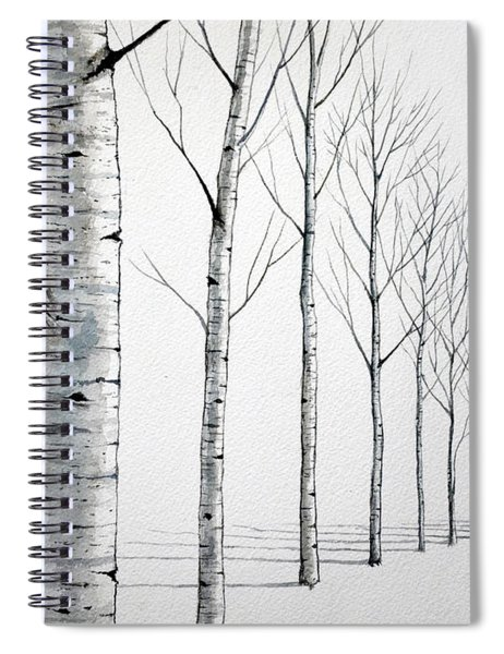 Row Of Birch Trees In The Snow Spiral Notebook