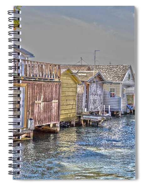 Row Of Boathouses Spiral Notebook