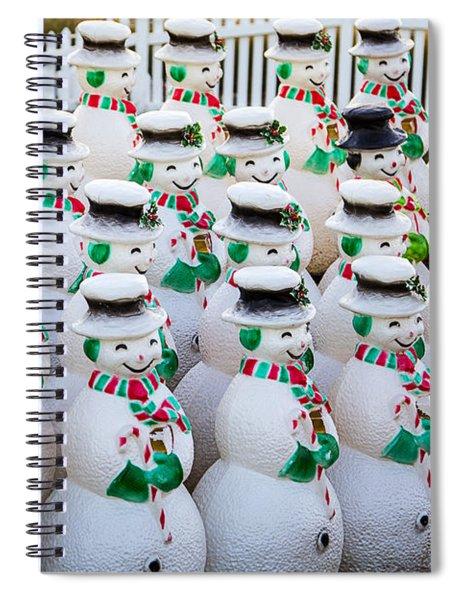 Rows Of Snowmen Spiral Notebook