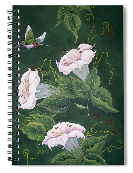 Hummingbird And Lilies Spiral Notebook
