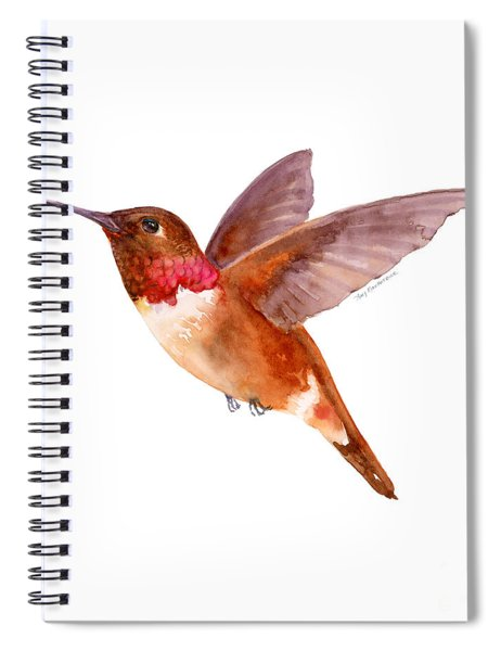 Rufous Hummingbird Spiral Notebook by Amy Kirkpatrick