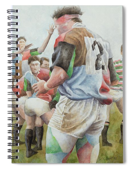 Rugby Match Harlequins V Northampton, Brian Moore At The Line Out, 1992 Wc Spiral Notebook