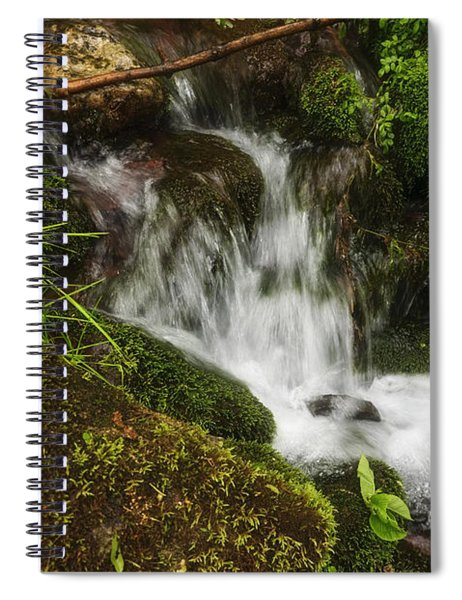 Rushing Mountain Stream And Moss Spiral Notebook