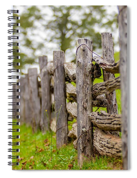 Rustic Home Made Split Rail Fence In The Mountains Of North Caro Spiral Notebook by Alex Grichenko