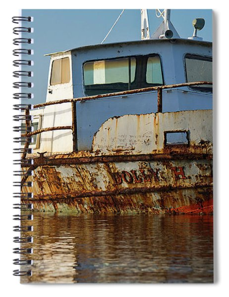 Rusty Boat Moored In A Lake At Sunrise Spiral Notebook
