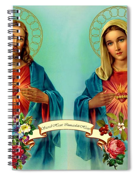 Spiral Notebook featuring the painting Sacred Heart Immaculate Heart  by Movie Poster Prints