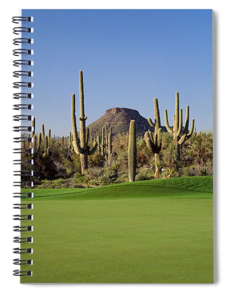 Saguaro Cacti In A Golf Course, Troon Spiral Notebook