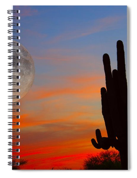 Saguaro Full Moon Sunset Spiral Notebook