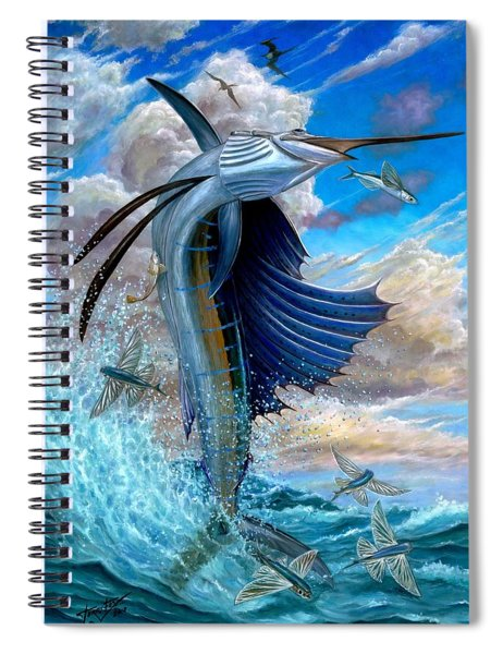 Sailfish And Flying Fish Spiral Notebook