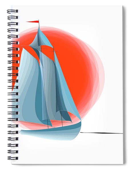 Sailing Red Sun Spiral Notebook