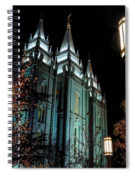 Salt Lake City Mormon Temple Christmas Lights Spiral Notebook