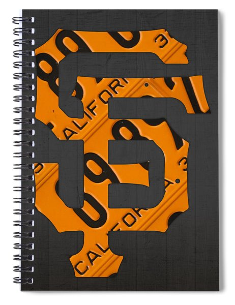 San Francisco Giants Baseball Vintage Logo License Plate Art Spiral Notebook