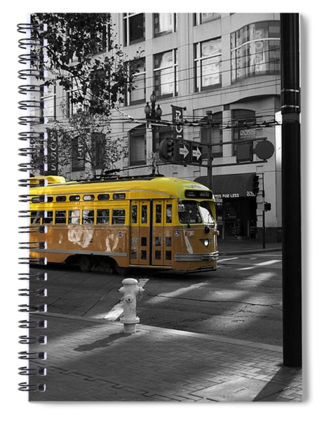San Francisco Vintage Streetcar On Market Street - 5d19798 - Black And White And Yellow Spiral Notebook