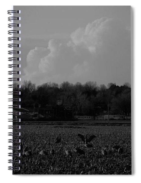 Sand Hill Cranes With Nebraska Thunderstorm Spiral Notebook