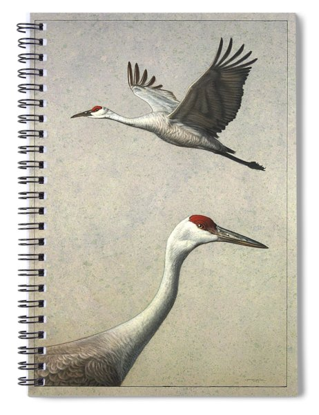 Spiral Notebook featuring the painting Sandhill Cranes by James W Johnson