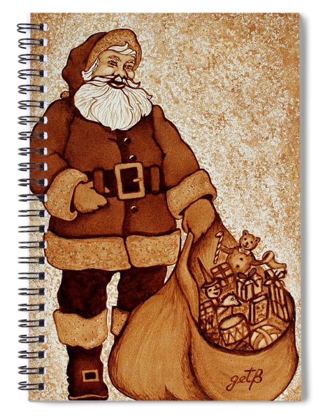 Santa Claus Bag Spiral Notebook by Georgeta  Blanaru