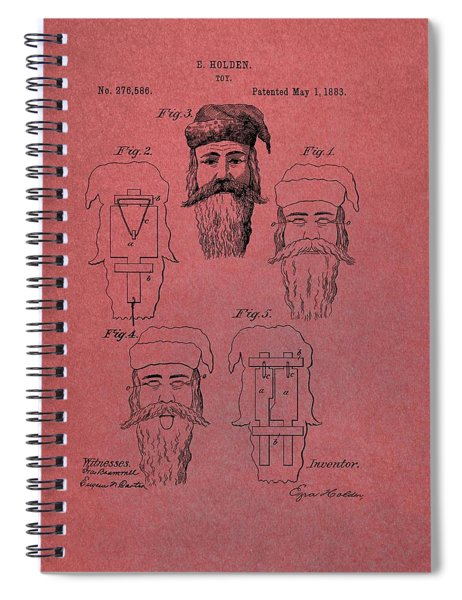 Santa Claus Mask Patent Red Spiral Notebook by Dan Sproul