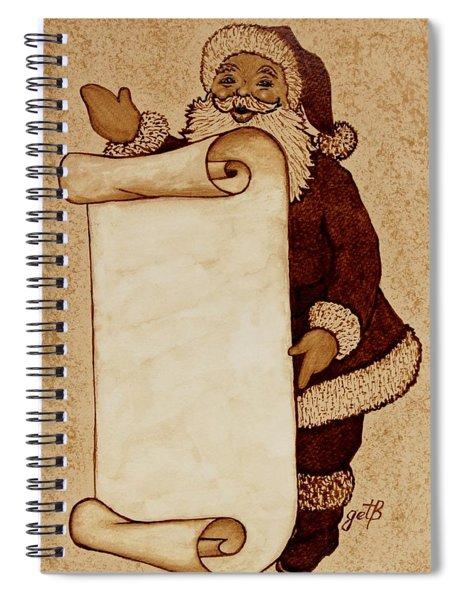 Santa Claus Wishlist Original Coffee Painting Spiral Notebook by Georgeta  Blanaru